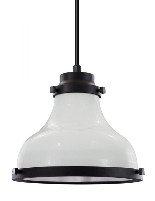 "10"" Madison shade in White finish with black trim and a white lens on a Black 8' cord. MA10-BLC-WH10-44-41"