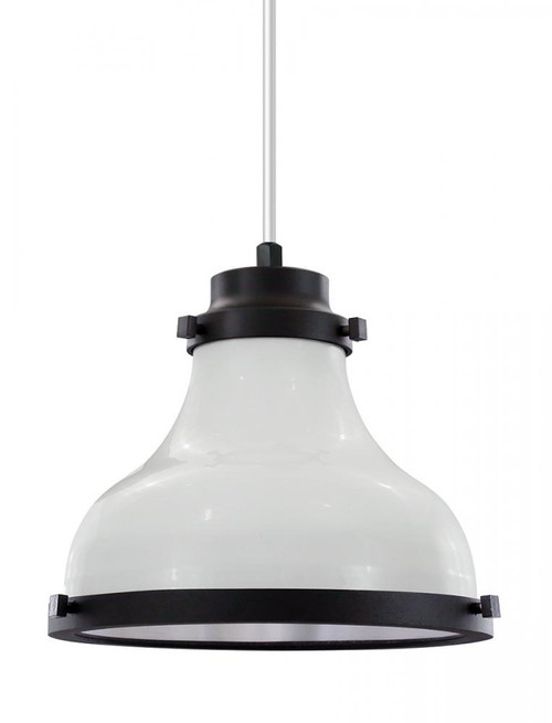 """10"""" Madison shade in White finish with black trim and a white lens on a White 8' cord. MA10-WHC-WH10-44-41"""