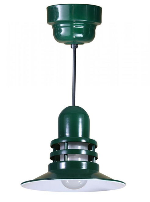 """12"""" Orbitor Shade including frosted glass in Marine Grade Forest Green on an 8' Black Cord ORB12-FR-32WPL-RTC-BLC-102"""