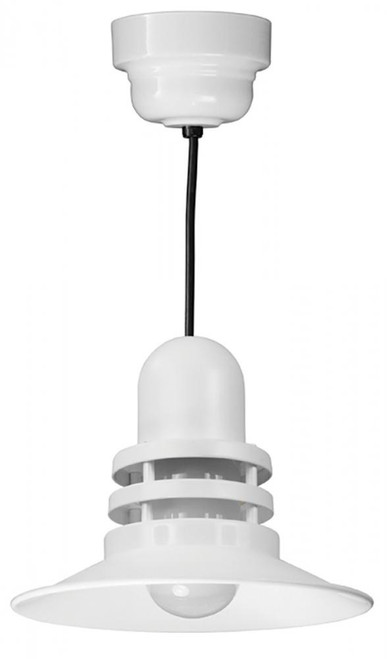 """12"""" Orbitor Shade including frosted glass in Marine Grade White on an 8' Black Cord ORB12-FR-32WPL-RTC-BLC-107"""