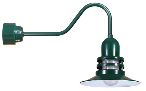 "12"" Fluorescent Orbitor Shade including frosted glass on a gooseneck arm in Forest Green ORB12-FR-32WPL-RTC-E6-42"