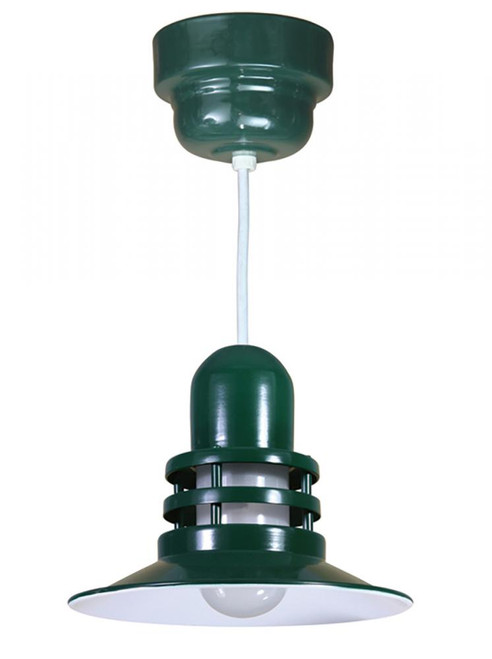 """12"""" Orbitor Shade including frosted glass in Marine Grade Forest Green on an 8' White Cord ORB12-FR-32WPL-RTC-WHC-102"""