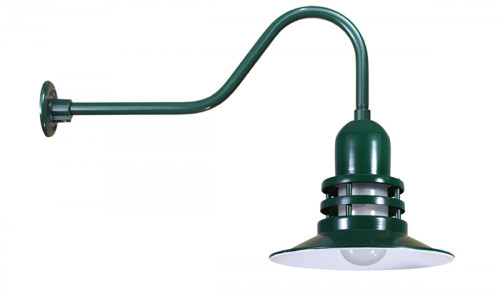 """12"""" Orbitor Shade including frosted glass on a gooseneck arm in Marine Grade Forest Green ORB12-FR-E6-102"""