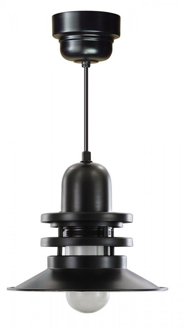"12"" Orbitor Shade in Marine Grade Black, including frosted glass on an 8' Black Cord ORB12-FR-M016LDNW40K-RTC-BLC-101"