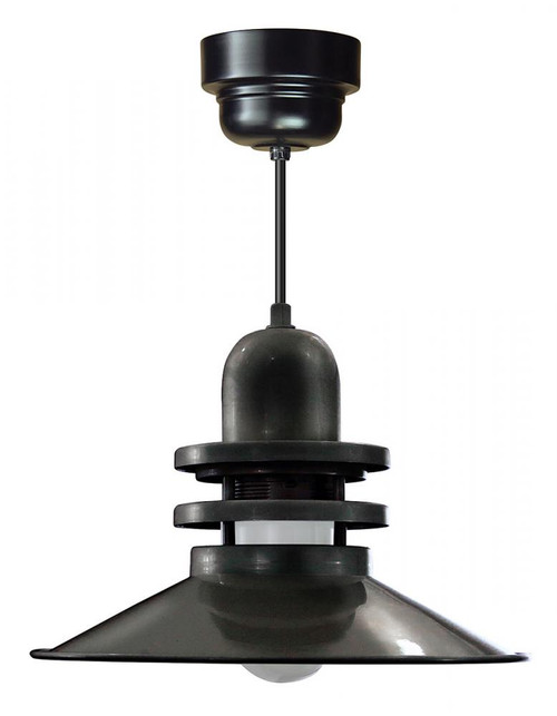 "16"" Orbitor Shade in Marine Grade Black including frosted glass on an 8' Black cord ORB16-FR-M016LDNW40K-RTC-BLC-101"