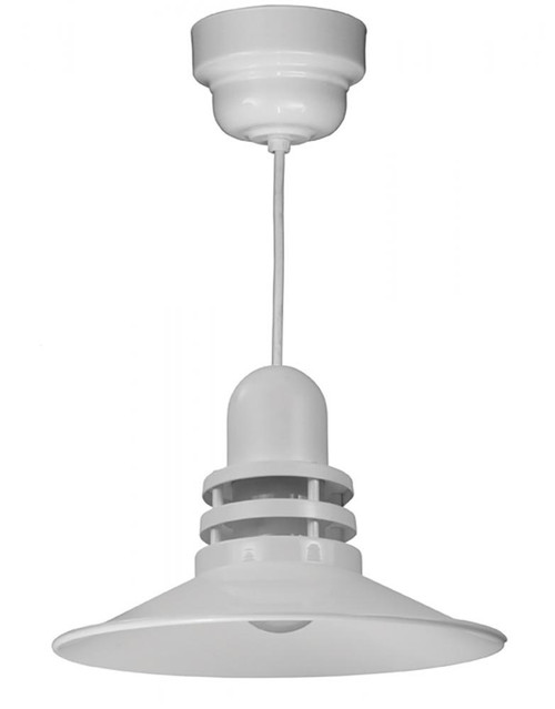 "16"" Orbitor Shade in White including frosted glass on an 8' White cord with driver housing ORB16-FR-M016LDNW40K-RTC-WHC-44"