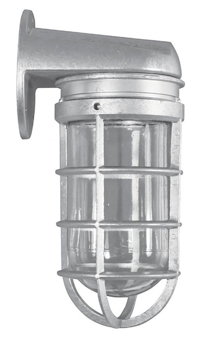 Our smaller wall mounted Vapor Tight Fixture has clear glass, and cast guard.