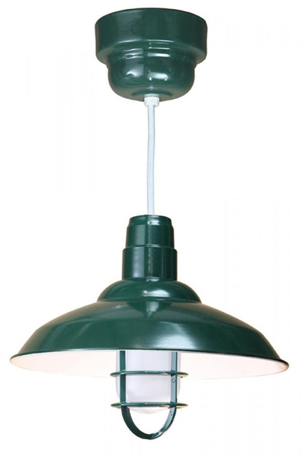 """16"""" Warehouse reflector Barn Style  Shade in Marine Grade Forest Green with clear glass and cast"""