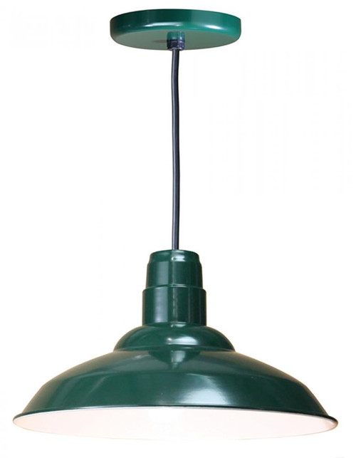 """16"""" Warehouse reflector Barn Style Shade in Forest Green on an 8' Black cord using a medium W516-BLC-42"""
