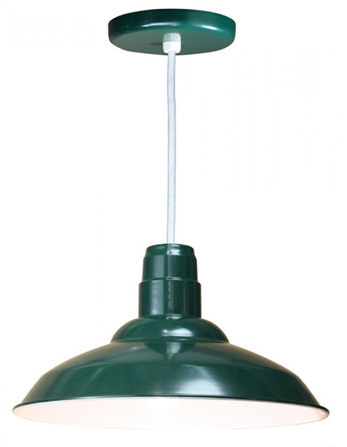 """16"""" Warehouse reflector Barn Style Shade in Forest Green on an 8' White cord using a medium W516-WHC-42"""