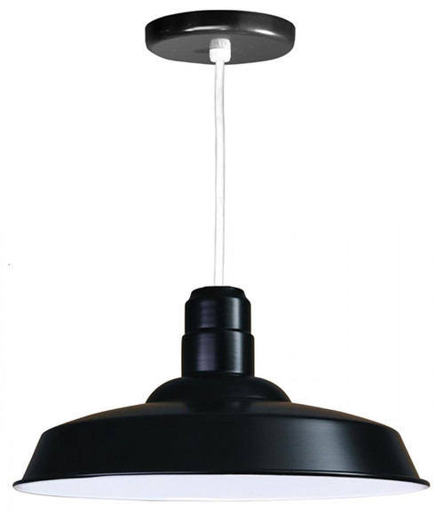 """18"""" Warehouse reflector Barn Style Shade in Black on an 8' White cord using a medium base W518-WHC-41"""