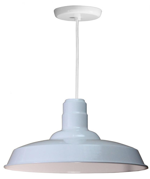 """18"""" Warehouse reflector Barn Style Shade in White on an 8' White cord using a medium base W518-WHC-44"""