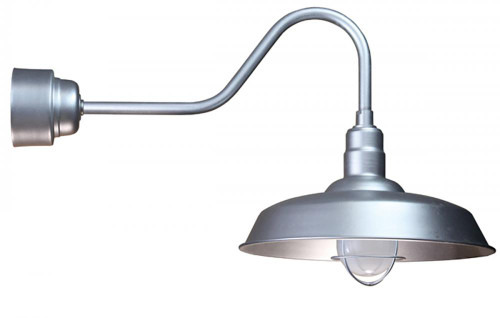 """18"""" Fluorescent Warehouse Shade with Frosted Glass and Wire Guard mounted on a Gooseneck Arm in"""