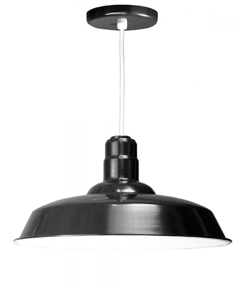 """20"""" Warehouse reflector Barn Style Shade in Black on an 8' White cord using a medium base W520-WHC-41"""