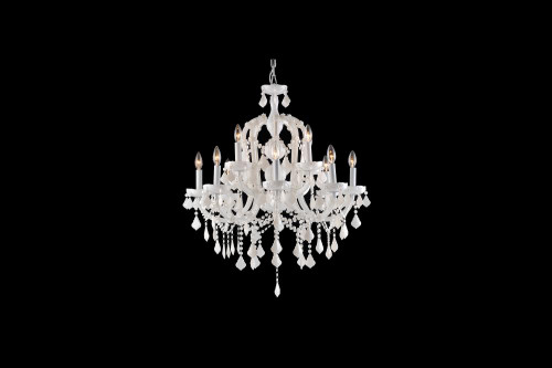 CASA BLANCA WAY COLLECTION WHITE 12 LIGHT CRYSTAL CHANDELIER HF1039-WHT