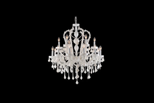 CASA BLANCA WAY COLLECTION WHITE 18LIGHT CRYSTAL CHANDELIER HF1040-WHT