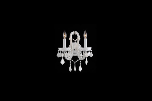 CASABLANCA WAY. 2 LIGHTING WHITE CRYSTAL WALL SCONCE HF1041-WHT