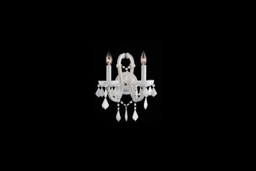 CASABLANCA WAY. 2 LIGHTING WHITE CRYSTAL WALL SCONCE HF1041-WHT