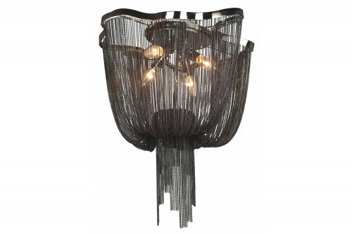 MULLHOLAND DR. BLACK DRAPED CHAIN FLUSH MOUNT HF1403-BLK