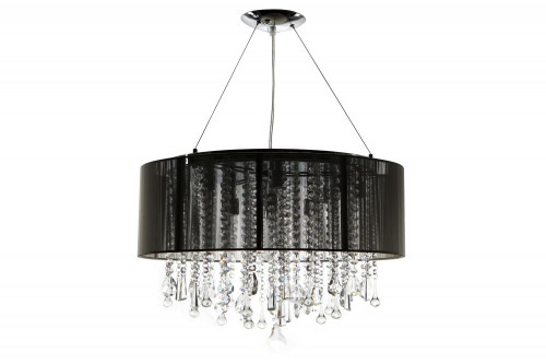 BEVERLY DR. ROUND BLACK SILK STRING SHADE AND CRYSTAL DUAL MOUNT Drum Shade in Black HF1500-BLK