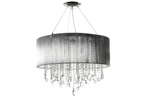 BEVERLY DR. ROUND SILVER SILK STRING SHADE AND CRYSTAL DUAL MOUNT Drum Shade in Silver Silk String HF1500-SLV
