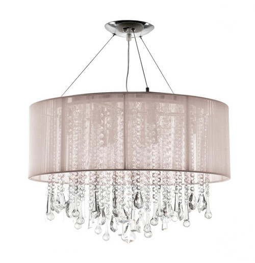 BEVERLY DR. ROUND TAUPE SILK STRING SHADE AND CRYSTAL DUAL MOUNT Drum Shade in Gray HF1500-TP
