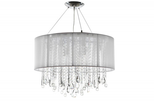 BEVERLY DR. ROUND WHITE SILK STRING SHADE AND CRYSTAL DUAL MOUNT Drum Shade in White Silk String HF1500-WHT
