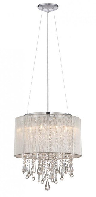 BEVERLY DR. ROUND SILVER SILK STRING SHADE AND CRYSTAL DUAL MOUNT Drum Shade in Silver Silk String HF1501-SLV