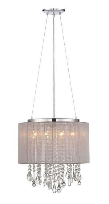 BEVERLY DR. ROUND TAUPE SILK STRING SHADE AND CRYSTAL DUAL MOUNT Drum Shade in Gray HF1501-TP
