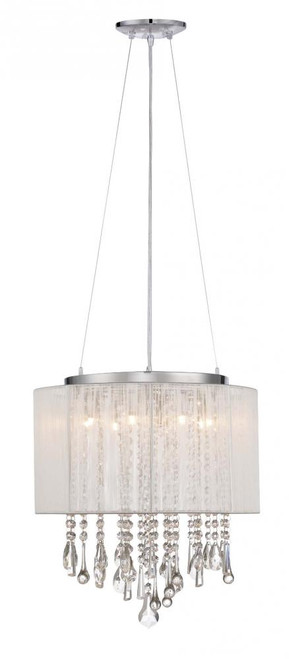 BEVERLY DR. ROUND WHITE SILK STRING SHADE AND CRYSTAL DUAL MOUNT Drum Shade in White Silk String HF1501-WHT