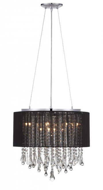 BEVERLY DR. ROUND BLACK SILK STRING SHADE AND CRYSTAL DUAL MOUNT Drum Shade in Black HF1502-BLK
