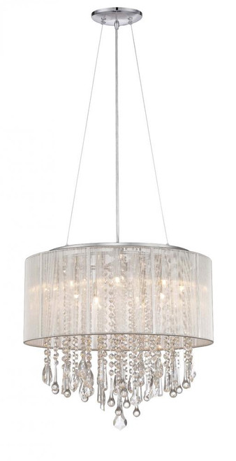 BEVERLY DR. ROUND SILVER SILK STRING SHADE AND CRYSTAL DUAL MOUNT Drum Shade in Silver Silk String HF1502-SLV