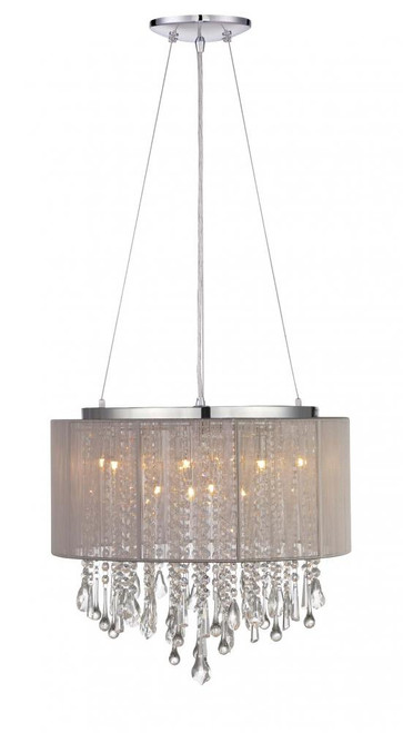 BEVERLY DR. ROUND TAUPE SILK STRING SHADE AND CRYSTAL DUAL MOUNT Drum Shade in Gray HF1502-TP