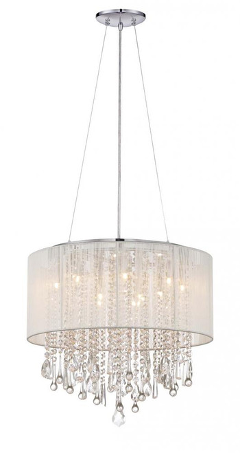 BEVERLY DR. ROUND WHITE SILK STRING SHADE AND CRYSTAL DUAL MOUNT Drum Shade in White Silk String HF1502-WHT