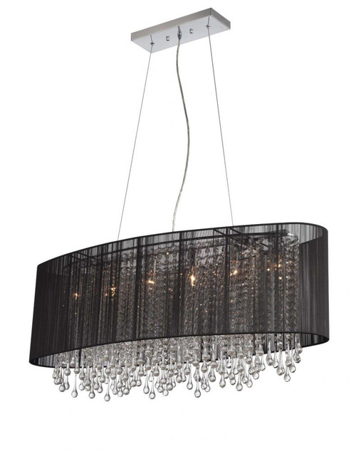 BEVERLY DR. COLLECTION OVAL BLACK SILK STRING SHADE AND CRYSTAL DUAL MOUNT HF1503-BLK