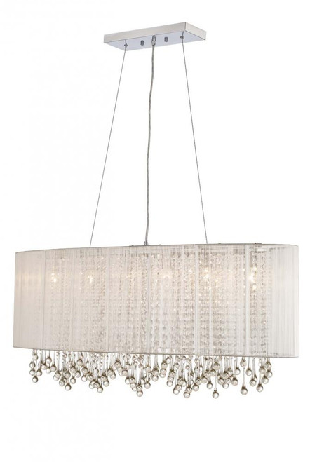 BEVERLY DR. COLLECTION OVAL SILVER SILK STRING SHADE AND CRYSTAL DUAL MOUNT HF1503-SLV