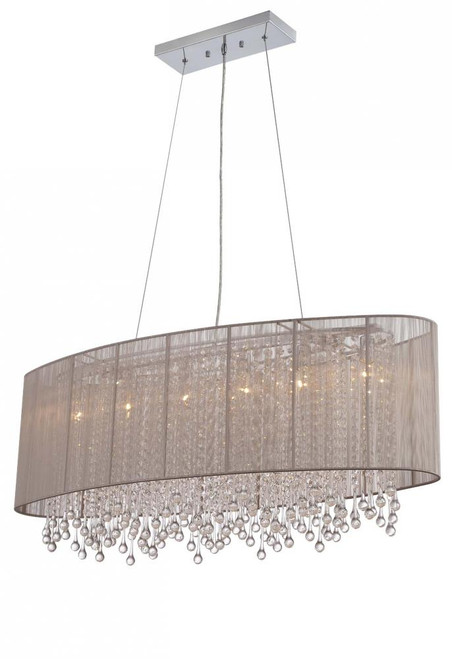 BEVERLY DR. COLLECTION OVAL TAUPE SILK STRING SHADE AND CRYSTAL DUAL MOUNT HF1503-TP