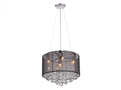 RIVERSIDE DR. ROUND BLACK ORGANZA SILK SHADE AND CRYSTAL DUAL MOUNT Drum Shade Chandeliers in Black HF1504-BLK