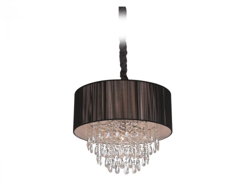 VINELAND AVE. COLLECTION BLACK LINED SILK STRING SHADE AND CRYSTAL HANGING FIXTURE HF1506-BLK
