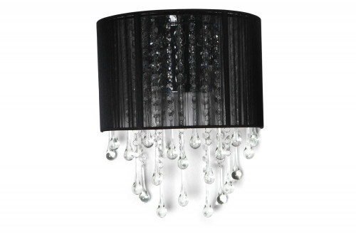 BEVERLY DRIVE COLLECTION BLACK SILK STRING AND CRYSTAL WAL SCONCE HF1511-BLK