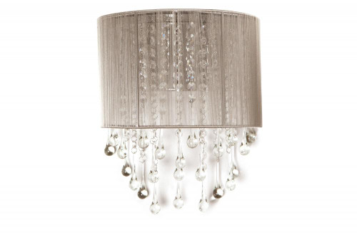 BEVERLY DRIVE COLLECTION TAUPE SILK STRING AND CRYSTAL WAL SCONCE HF1511-TP
