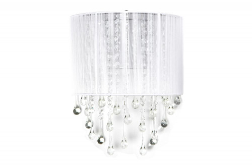 BEVERLY DRIVE COLLECTION WHITE SILK STRING AND CRYSTAL WAL SCONCE HF1511-WHT