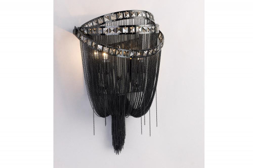 WILSHIRE BLVD. COLLECTION BLACK CHROME CHAIN AND SMOKE CRYSTAL WALL SCONCE HF1607-BLK
