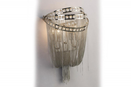 WILSHIRE BLVD. COLLECTION POLISH NICKEL CHAIN AND CRYSTAL WALL SCONCE HF1607-NCK