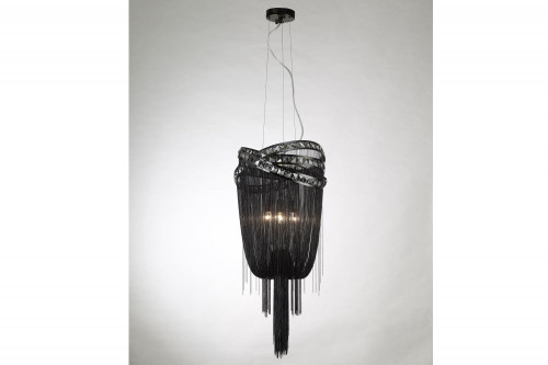 WILSHIRE BLVD. BLACK STEEL CHAIN FOYEAR HANGING FIXTURE Modern in Chrome HF1608-BLK