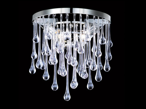 HOLLYWOOD BLVD. COLLECTION POLISH NICKEL / CLEAR GLASS TEAR DROPS ROUND WALL SCONCE HF1800-PN