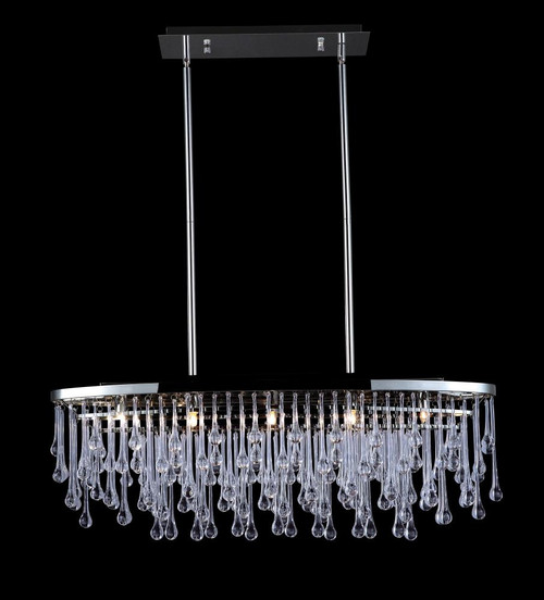 HOLLYWOOD BLVD. COLLECTION POLISHED NICKEL AND TEAR DROP CRSYTAL OVAL HANGING FIXTURE HF1806-PN