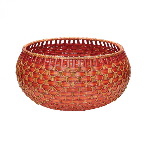 Large Fish Scale Basket In Red And Orange 466053