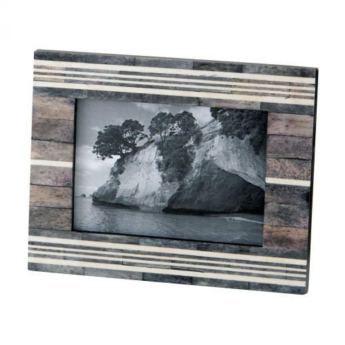Gray And White 4x6 Horn And Bone Frame 903006