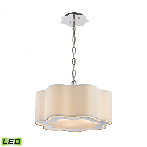Villoy 3 Light LED Drum Pendant In Polished Stainless Steel And Nickel 1140-018-LED